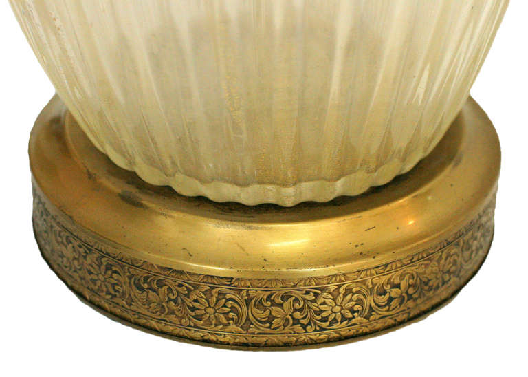 Large Hand Blown Murano Glass Table Lamp in Barovier Style In Excellent Condition For Sale In Van Nuys, CA