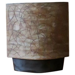 Large Handbuilt Architectural Ceramic Vase, Brown Swirl Drawings and Black Base