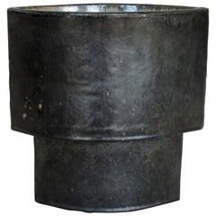 Large Hand Built Ceramic Vase, Architectural Construction in Mottled Black Glaze