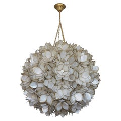 Large Handcrafted Capiz Shell Three-Light Lotus Ball Chandelier by Rausch, 1960s