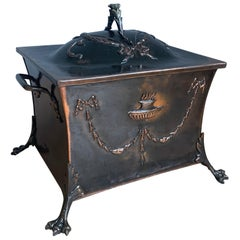 Large Handcrafted Copper and Bronze Fireplace Coal Bucket on Stunning Claw Feet