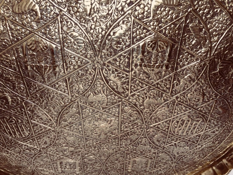 Large Handcrafted Decorative Indo Persian Hammered Brass