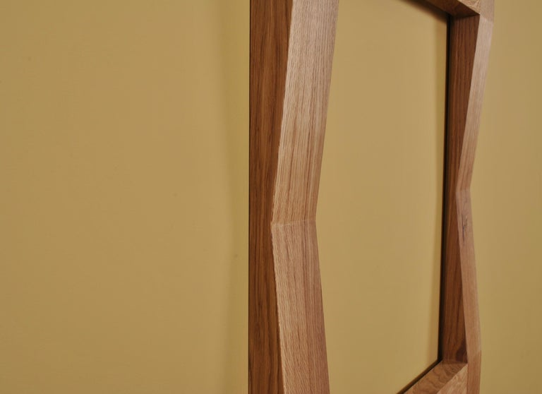 Large Handcrafted Oak Furrow Mirror For Sale 3