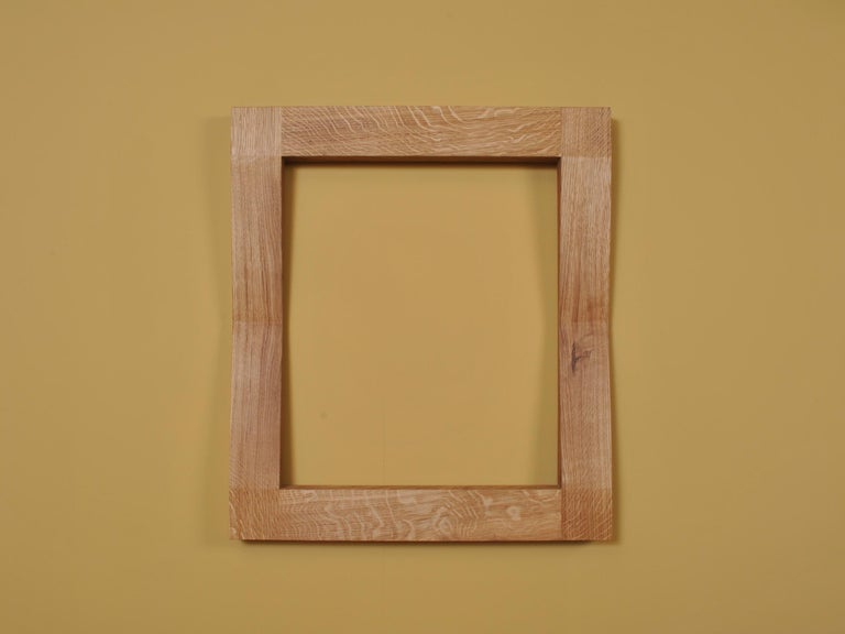 Large Handcrafted Oak Furrow Mirror For Sale 1