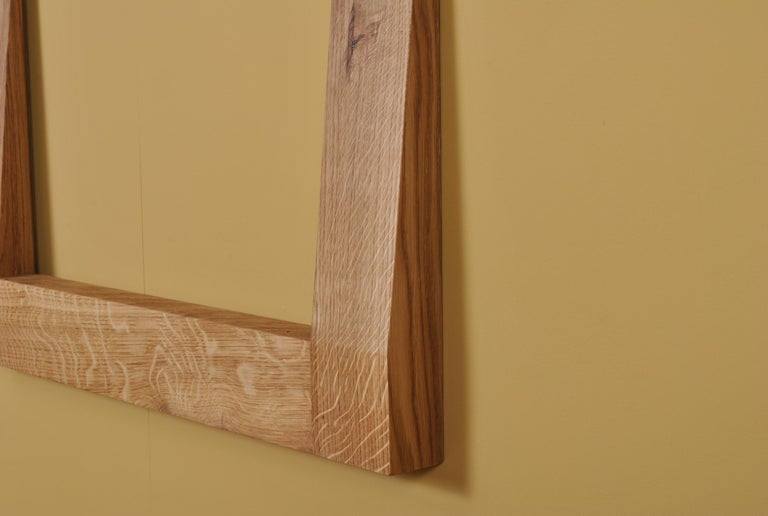 Large Handcrafted Oak Furrow Mirror For Sale 2