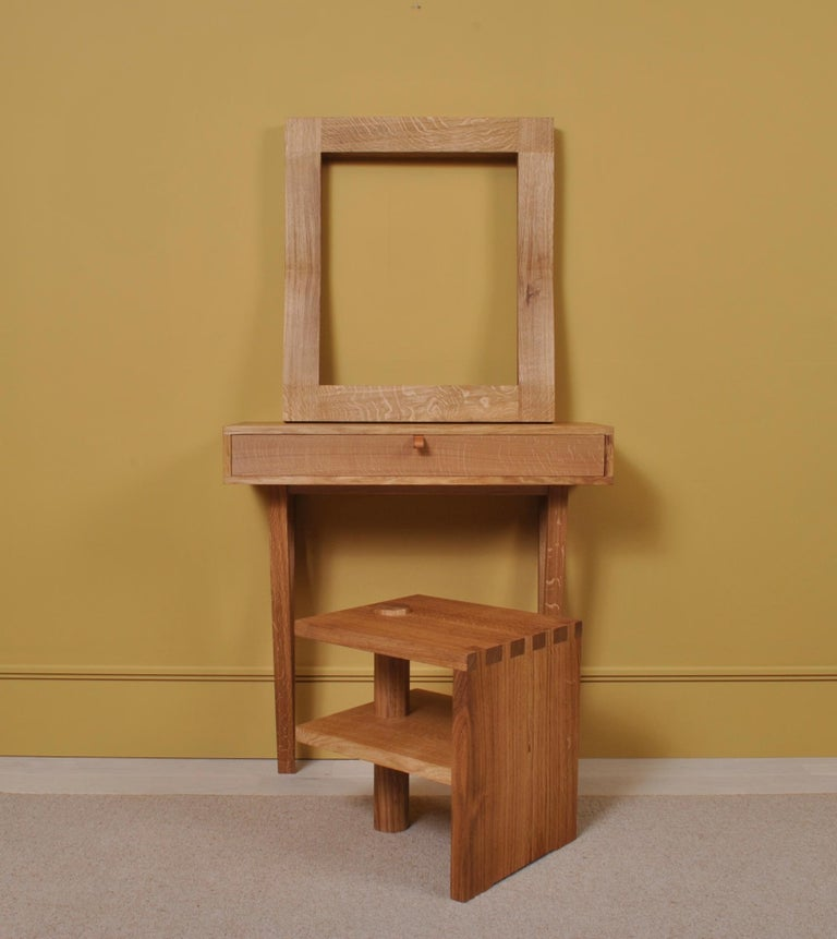 Large Handcrafted Oak Furrow Mirror For Sale 4
