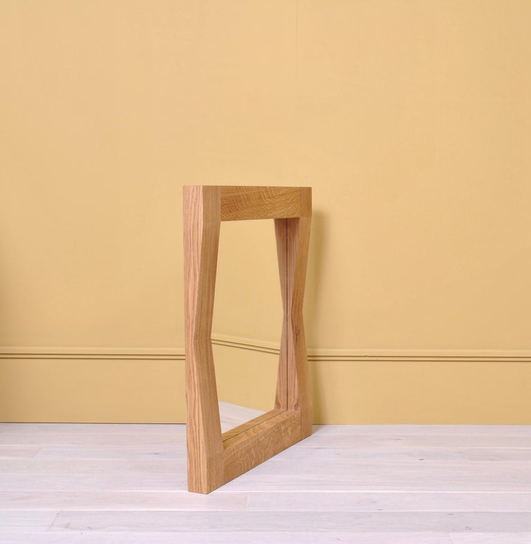 Large Handcrafted Oak Furrow Mirror For Sale 5