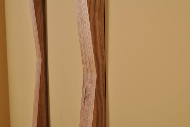 Post-Modern Large Handcrafted Oak Furrow Mirror For Sale
