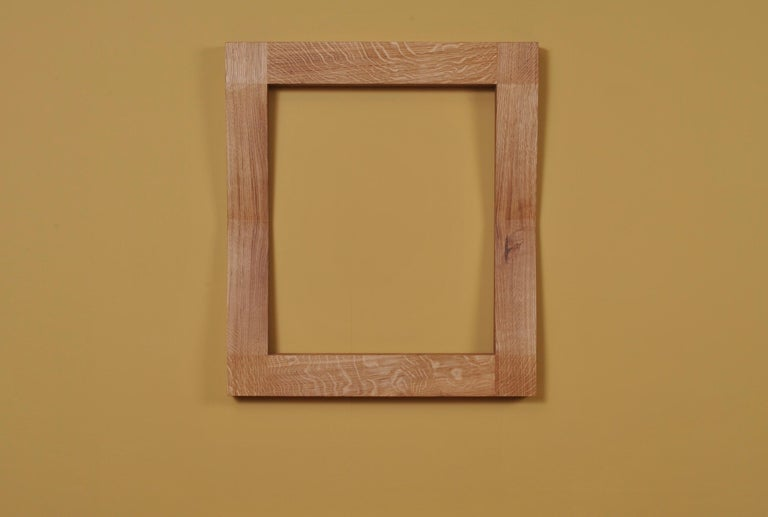 Hand-Crafted Large Handcrafted Oak Furrow Mirror For Sale