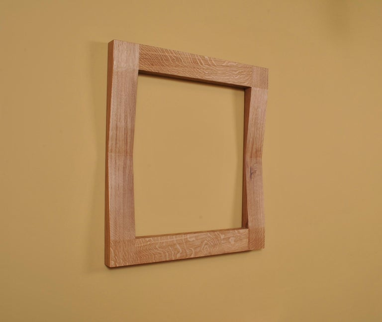 Contemporary Large Handcrafted Oak Furrow Mirror For Sale