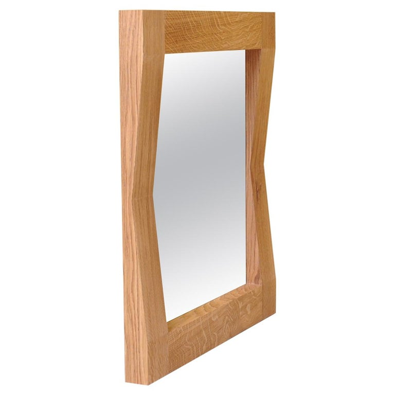 Large Handcrafted Oak Furrow Mirror For Sale