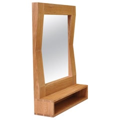 Large Handcrafted Oak Furrow Shelf Mirror