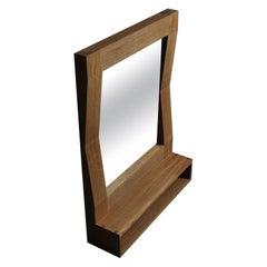Large Handcrafted Oak Furrow Shelf Mirror