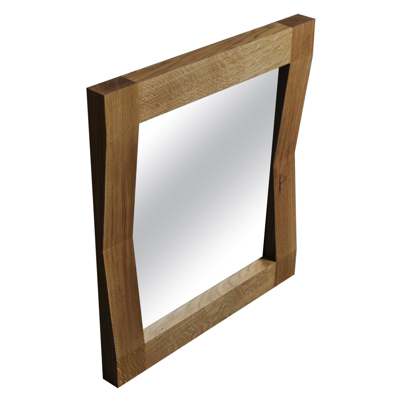 Large Handcrafted Oak Wall Mirror