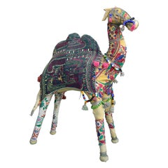 Large Handcrafted Raj Vintage Cotton Embroidered Decorative Camel, India, 1960's