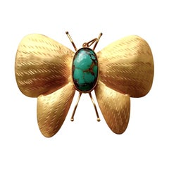 Large Handmade 18 Karat Solid Yellow Gold Turquoise Butterfly Pendant / Brooch