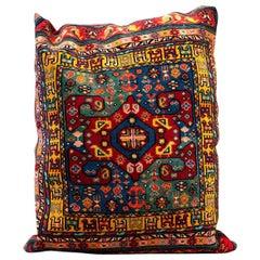 Large Handmade Carpet Decorative Pillow, Multicolored Oriental Rug Cushion Cover