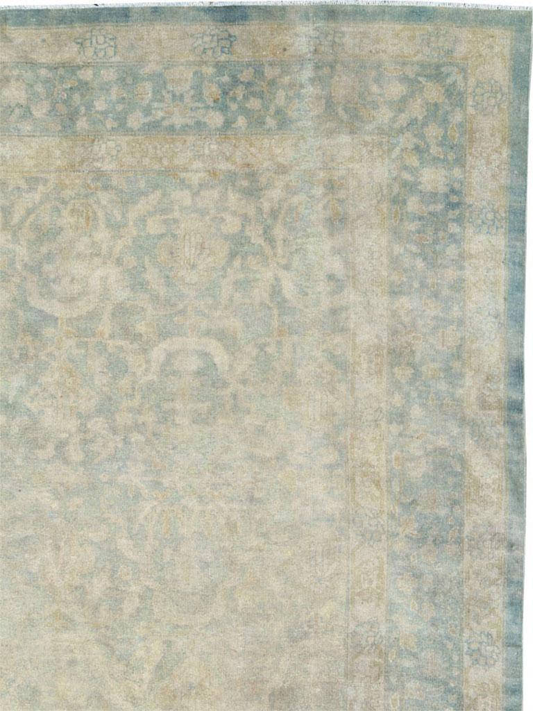 Hand-Knotted Large Handmade Chinese Carpet in Seafoam Blue and Seafoam Green For Sale