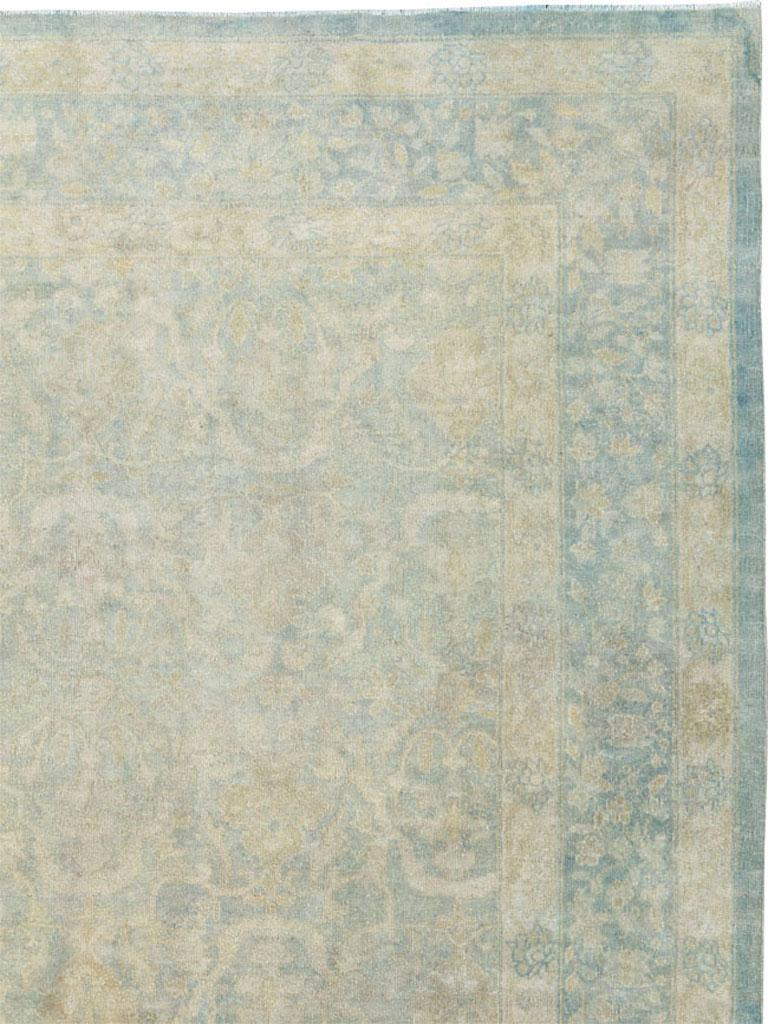 Large Handmade Chinese Carpet in Seafoam Blue and Seafoam Green In Good Condition For Sale In New York, NY