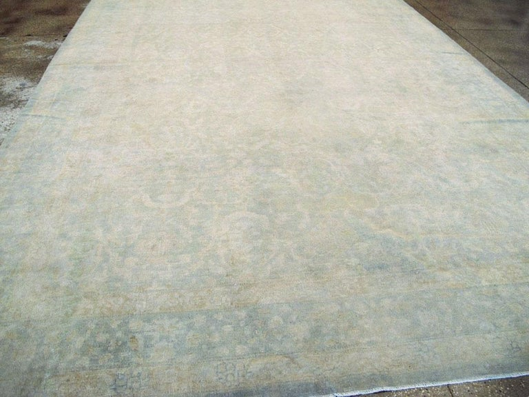 20th Century Large Handmade Chinese Carpet in Seafoam Blue and Seafoam Green For Sale