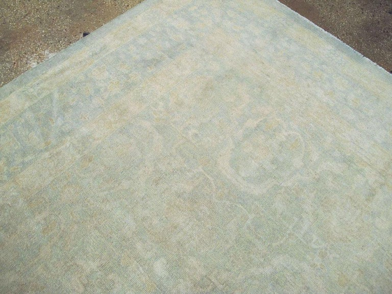 Large Handmade Chinese Carpet in Seafoam Blue and Seafoam Green For Sale 1