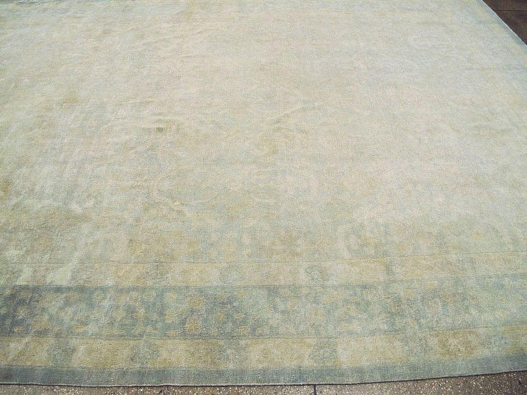 Large Handmade Chinese Carpet in Seafoam Blue and Seafoam Green For Sale 2