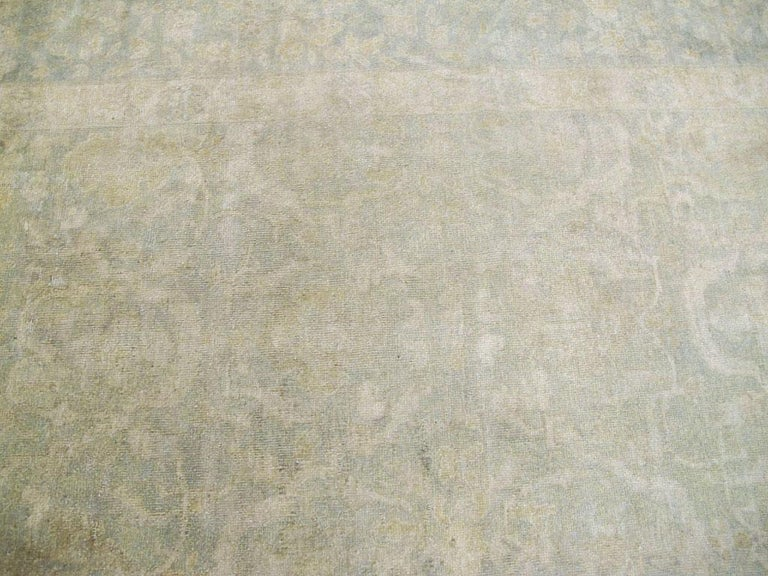 Large Handmade Chinese Carpet in Seafoam Blue and Seafoam Green For Sale 3