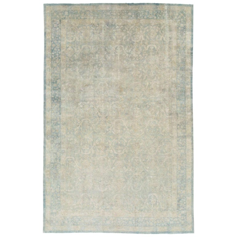 Large Handmade Chinese Carpet in Seafoam Blue and Seafoam Green For Sale