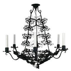 Large Handmade Country French Chandelier, circa 1920s