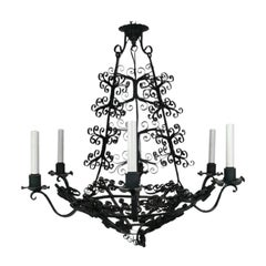 Large Handmade Country French Chandelier circa 1920's