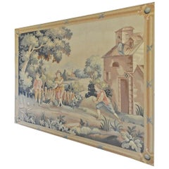 Large Handmade Flemish Style Tapestry of Boys Playing Bowling in Yard