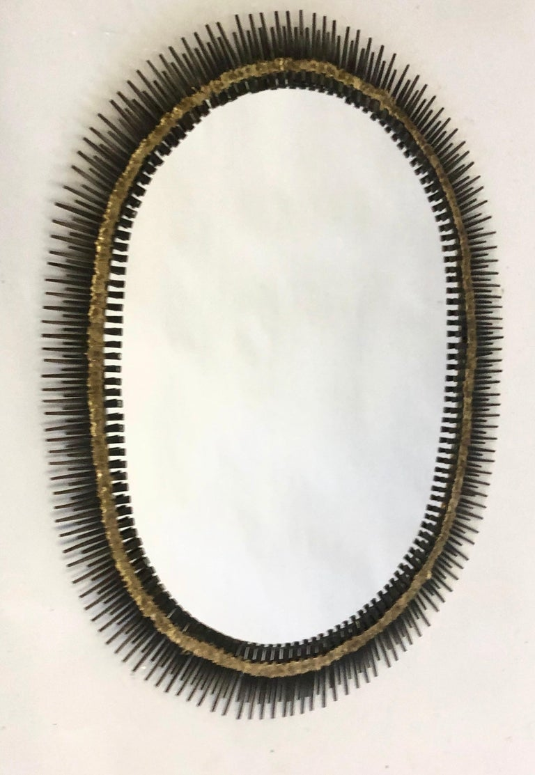 Large Handmade Mid-Century Modern Sunburst Steel & Brass Wall Mirror by Bela In Good Condition For Sale In New York, NY