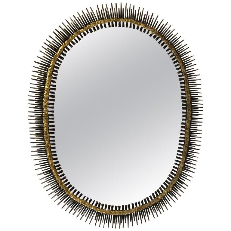 Large Handmade Mid-Century Modern Sunburst Steel & Brass Wall Mirror by Bela For Sale