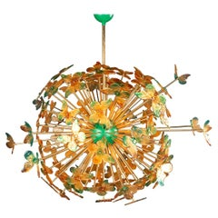"Large Handmade Venetian Glass Butterfly ""Sputnik"" Chandelier"