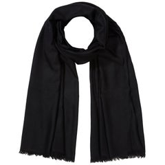 Large Handwoven 100% Cashmere Scarf in Black made in Kashmir India