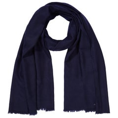 Large Handwoven 100% Cashmere Scarf in Navy made in Kashmir India - Brand New