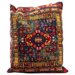 Large Handwoven Decorative Pillow, Multicolored Carpet Cushion Cover