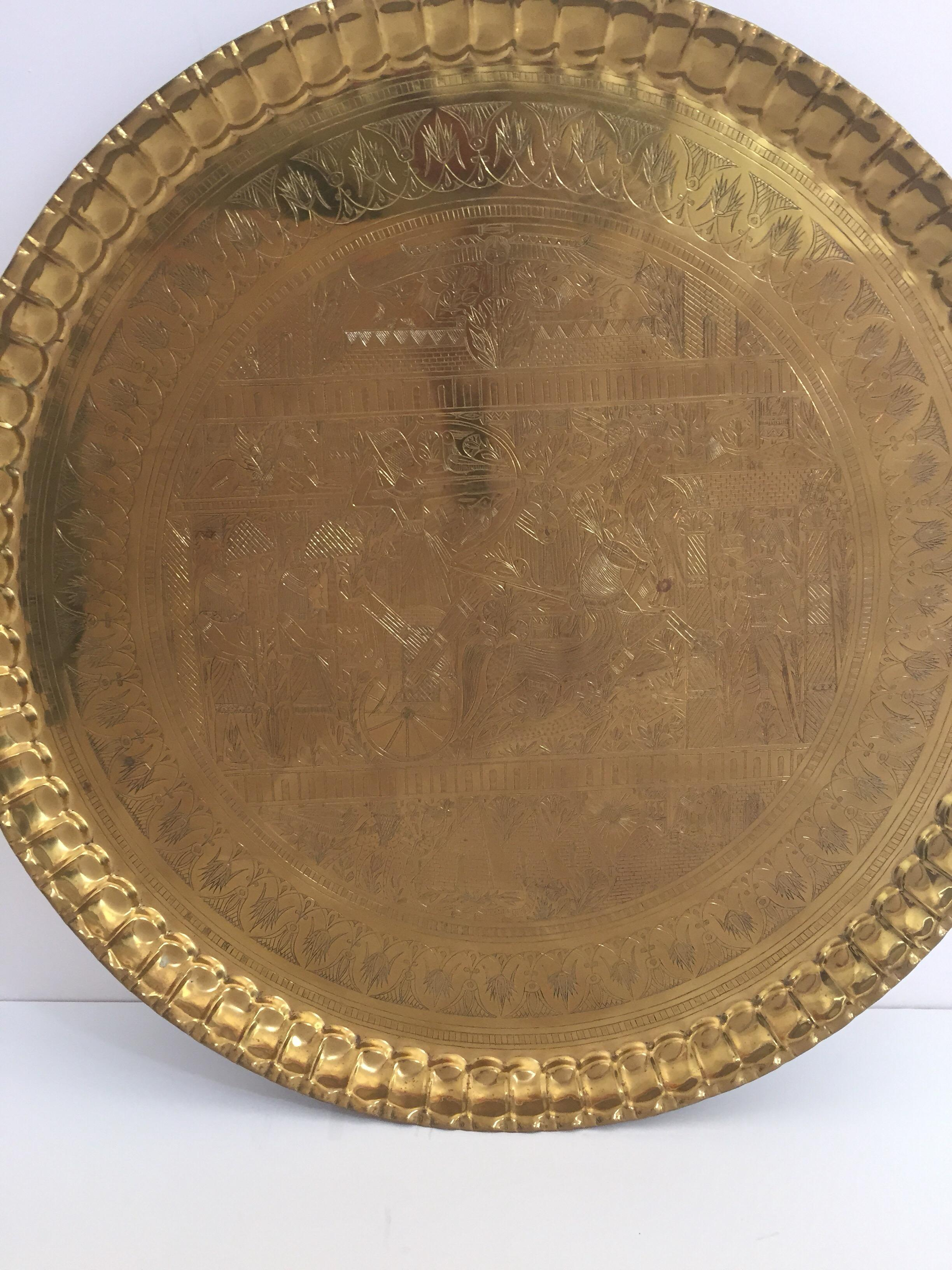 Brass Oriental Tray With A Long Standing Reputation Asian Antiques