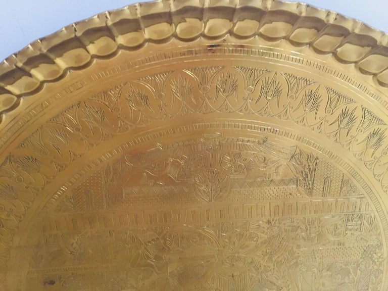 Large Hanging Egyptian Brass Tray Platter For Sale At 1stdibs