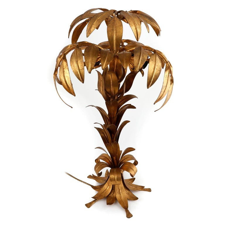 Large Hans Kögl Palm Tree Table Lamp, Gilt Metal, Germany, 1970s In Good Condition For Sale In Vienna, AT