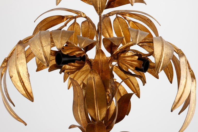 Gold Leaf Large Hans Kögl Palm Tree Table Lamp, Gilt Metal, Germany, 1970s For Sale
