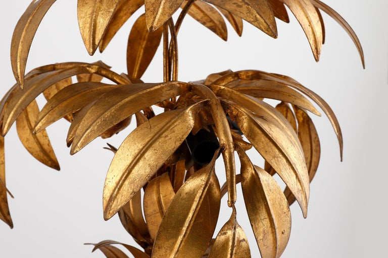 Large Hans Kögl Palm Tree Table Lamp, Gilt Metal, Germany, 1970s For Sale 1