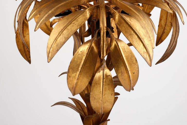 Large Hans Kögl Palm Tree Table Lamp, Gilt Metal, Germany, 1970s For Sale 3