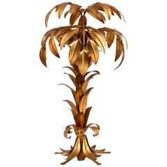 Large Hans Kögl Palm Tree Table Lamp, Gilt Metal, Germany, 1970s