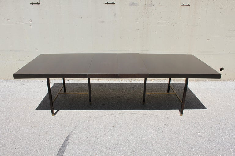 Large Harvey Probber Mahogany and Brass Dining Table For Sale 4