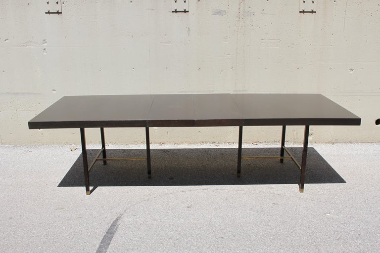 Large Harvey Probber Mahogany and Brass Dining Table For Sale 5