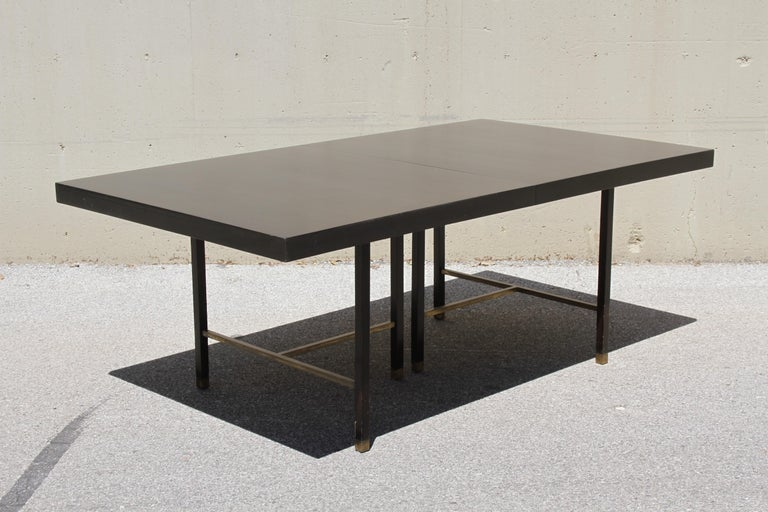 Mid-Century Modern Large Harvey Probber Mahogany and Brass Dining Table For Sale