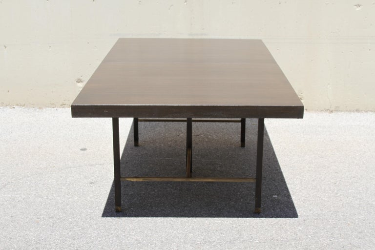 American Large Harvey Probber Mahogany and Brass Dining Table For Sale