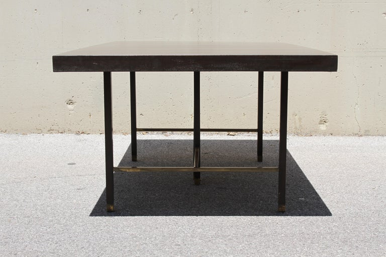 Large Harvey Probber Mahogany and Brass Dining Table In Good Condition For Sale In St. Louis, MO