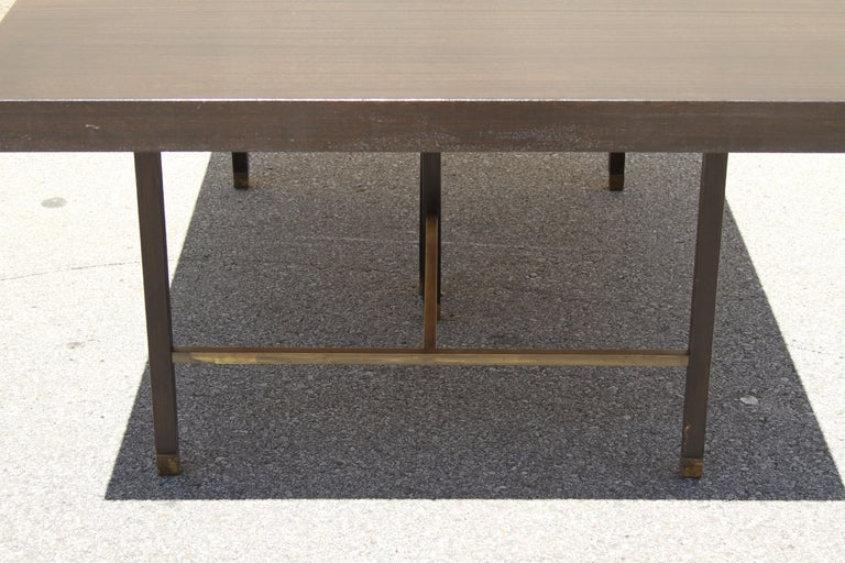 Mid-20th Century Large Harvey Probber Mahogany and Brass Dining Table For Sale